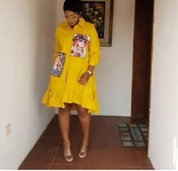 african clothing 2021 new summer print fashion beauty head beading shirt blouse ruffles dress women cotton irregular party dres