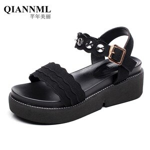 Black Green Red Rhinestone Sandals Women Casual Flat Sandals Summer 2021 Flock Medium Heel Beach Sandals Ladies 41 42 43