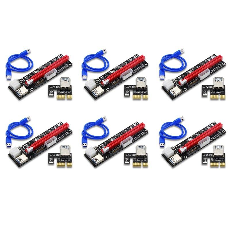 6 قطعة VER103C 3In1 الطاقة PCI-E الناهض بطاقة LED 4Pin 6Pin Sata 15Pin اكسبرس 1X إلى 16X 60 سنتيمتر تمديد كابل ل Bitcoin