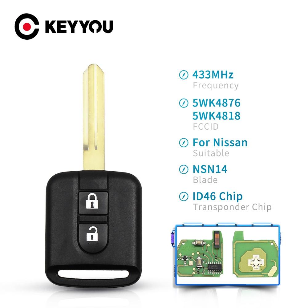 KEYYOU дистанционный Автомобильный ключ для Nissan Elgrand X TRAIL Qashqai Navara Micra Note NV200 5WK4 876/ 818 433 МГц ID46 чип ключ 2 кнопки Ключ от авто      АлиЭкспресс