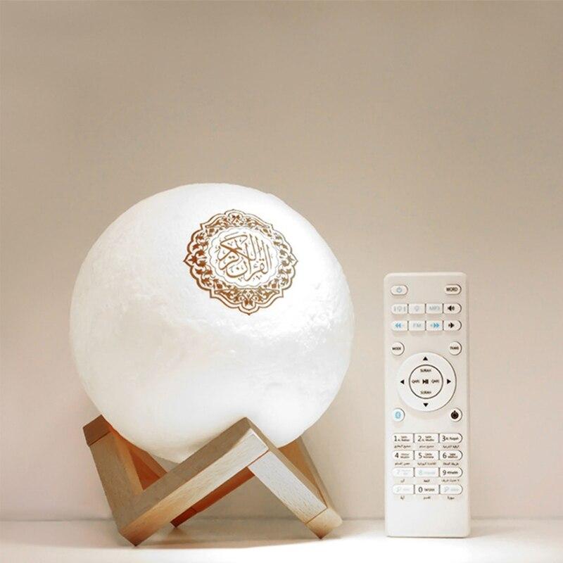 القرآن سمّاعات بلوتوث مصباح قمري مع دعم الرف APP التحكم ضوء الليل مع القرآن تلاوة الترجمة مكبر الصوت Musli
