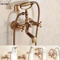 Melangeur de salle de bains mural  robinet de baignoire en laiton Antique avec douchette a main melangeur de salle de bains a double support robinets Torneiras EL8311