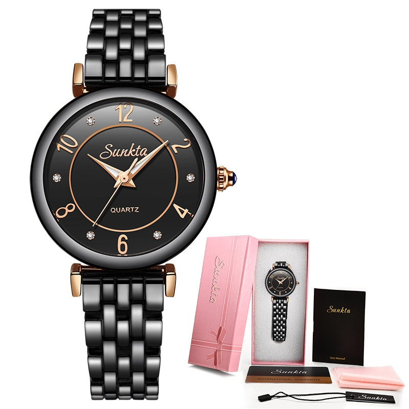 SUNKTA 2021 Hot Women Watches Luxury Brand Gift Black Ladies Watch Fashion/Dress Wristwatch Waterproof Simple Style Reloj Mujer enlarge