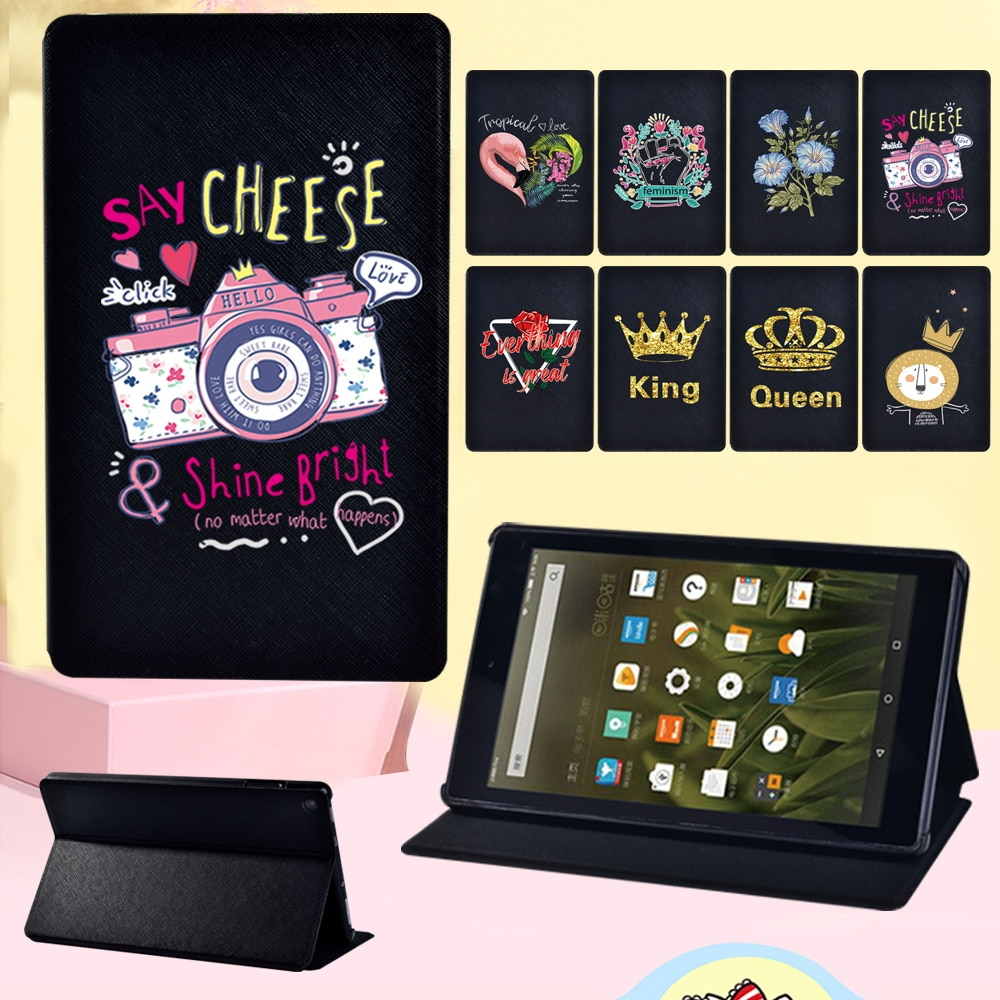 Case for Amazon Fire HD 8 Plus 2020/Fire 7/HD 8/HD 10 Pattern Print Adjustable Folding Leather Stand Cover Case + Free Stylus