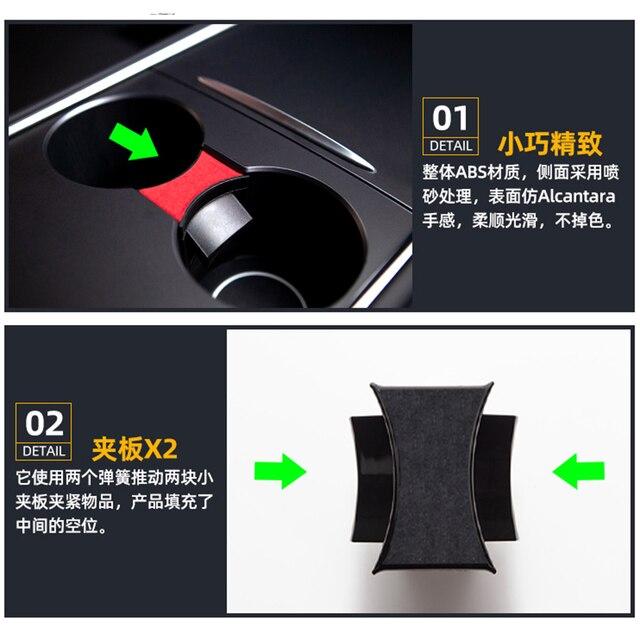 Heenvn Model3 Car Water Cup Holder For Tesla Model Y 2021 Accessories Interior Center Console Storage Organizer Model 3 Three 4