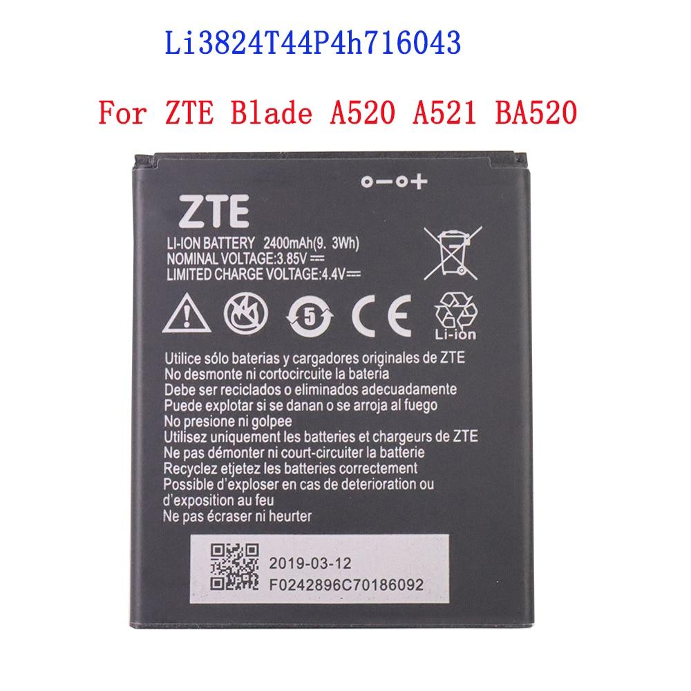 Batería de teléfono móvil Li3824T44P4h716043 de alta calidad de 100%, 2400mAh para ZTE Blade A520 A521 BA520