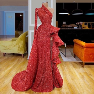 red prom dresses 2020 one shoulder long sleeve side slit ruffle shinning mermaid pleats sparkly evening dresses gowns