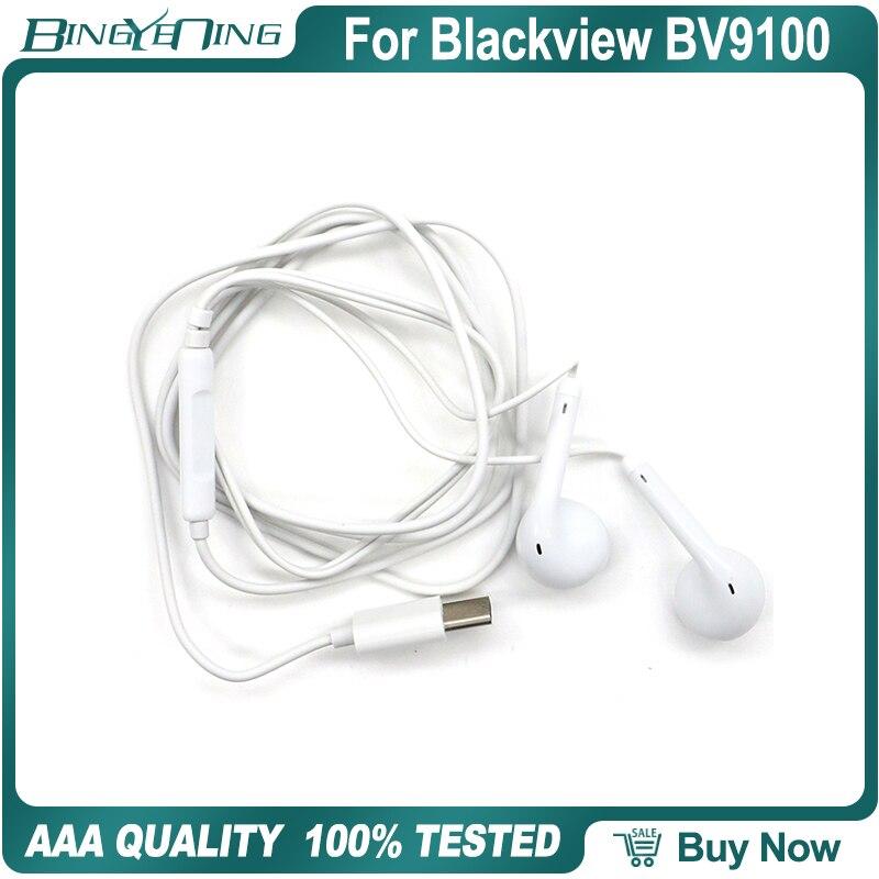 100% novos fones de ouvido originais para blackview bv9100 fone de ouvido in-ear com microfone tipo-c mtk6765 octa núcleo