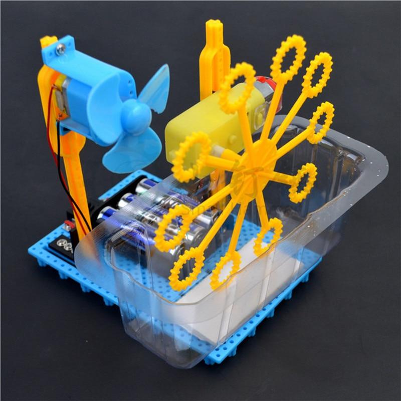 Diy máquina de bolha caseira de brinquedo, elétrico, caseiro, kit de experimento de ciência criativa para crianças, brinquedo de ciência, kit diy