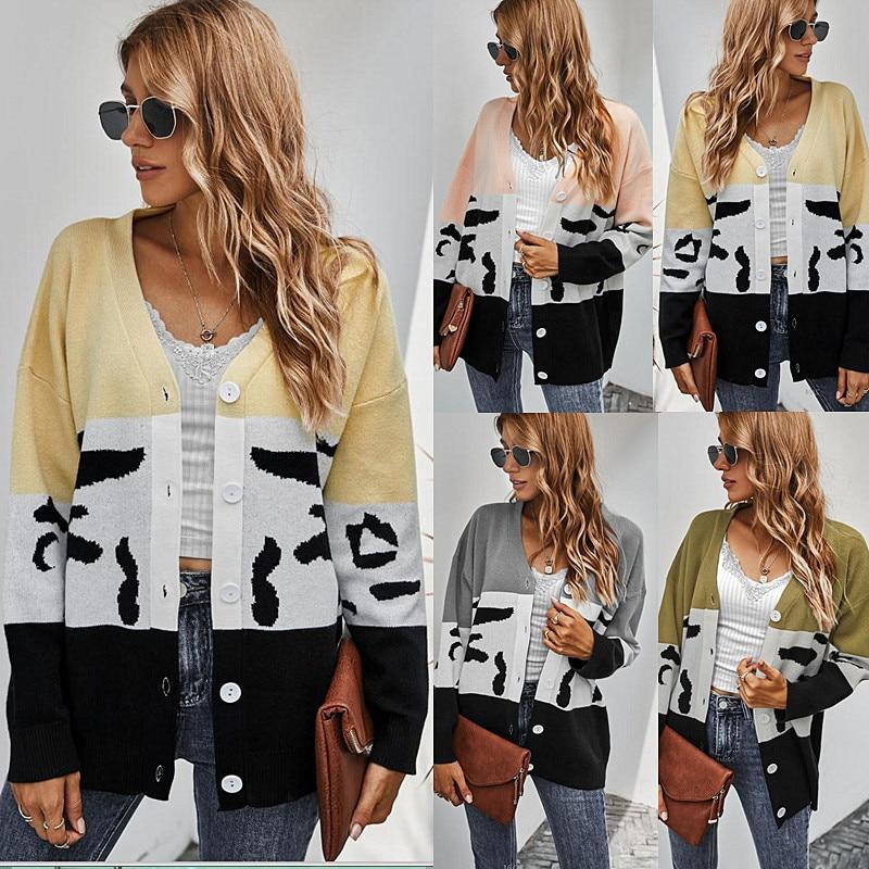 Женский кардиган в английском стиле, повседневные кардиганы с леопардовым принтом, женские модные кардиганы, свитер