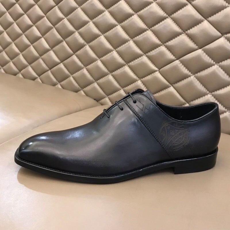 الرجال جلد طبيعي Vintage الرجعية مخصص بليك اليدوية مكتب موضة حفل زفاف رسمي أكسفورد أحذية فاخرة ماركة الموضة