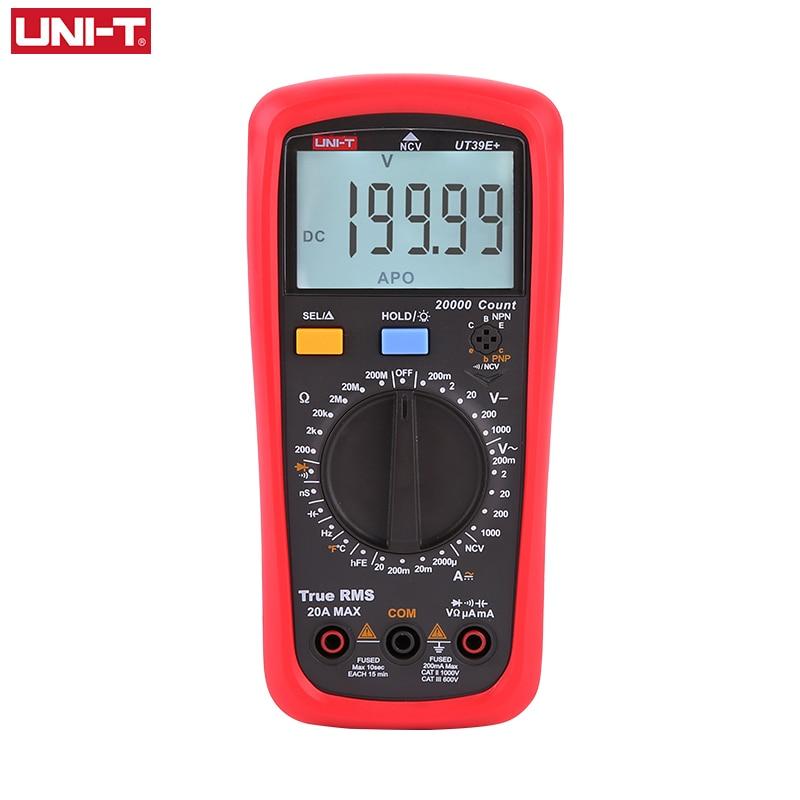 UNI-T UT39E + رقمي متعدد 20A 1000 فولت التيار المتناوب تيار مستمر يده متعدد مترو تلح Rms تستر مع 2000μF قدرة القياس