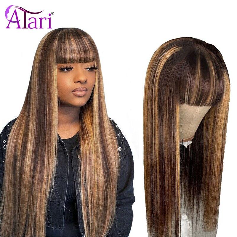 destaque peruca 99j peruano perucas de cabelo humano em linha reta com franja 100