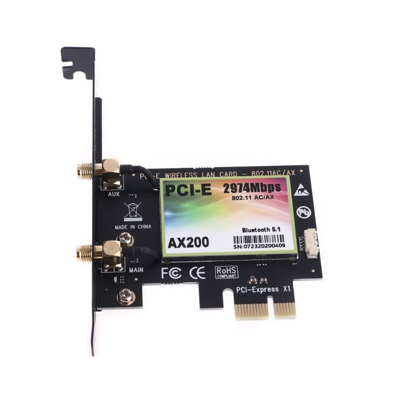 Wireless Dual Band MINI PCI-E to AX200 Express Adapter WiFi Net Card Wifi 6 2.4G / 5G with Bluetooth Antennas X6HA enlarge
