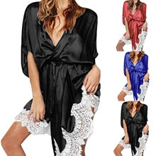 New Ladies Lace Silk Long Sleeve Pure Color Pajamas White Lace Pajamas Robe With Belted Bathrobe Ж�
