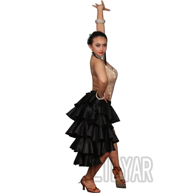 Latin Dance Skirt Women Black Dance Skirt Ladies Rumba Tango Dress Practice Wear Modern Dancing Skirt Latin Dress Women BL3974