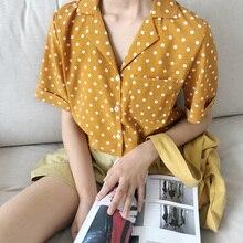 Été à manches courtes rétro Blouse femmes à pois imprimé chemises mince fille col Polo chemise de mode Blouses