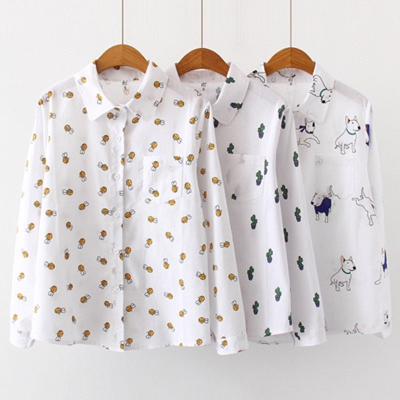 Women Blouses Cartoon Dog Bee Print Tops Female Long Sleeve Plus Size 2Xl 3Xl Shirts Ladies Clothing Cotton Fashion Women Shirts