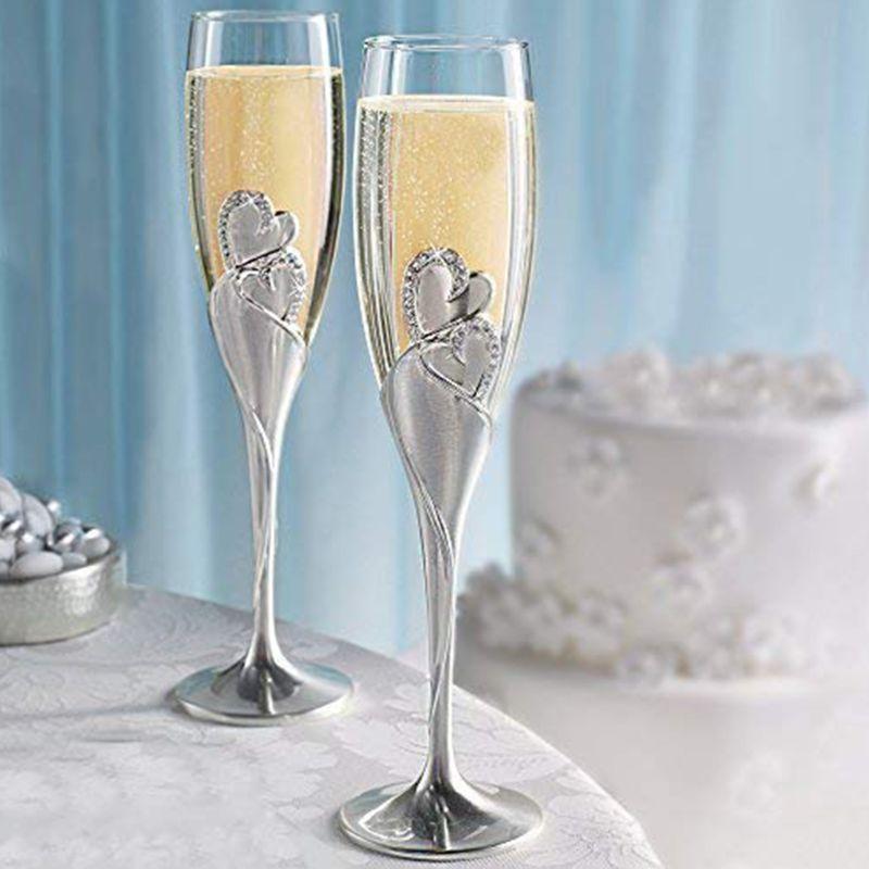 كؤوس النبيذ المصنوعة يدويًا للعروس والعريس ، إكسسوارات الزفاف ، هدية عيد الحب ، قلوب ذهبية