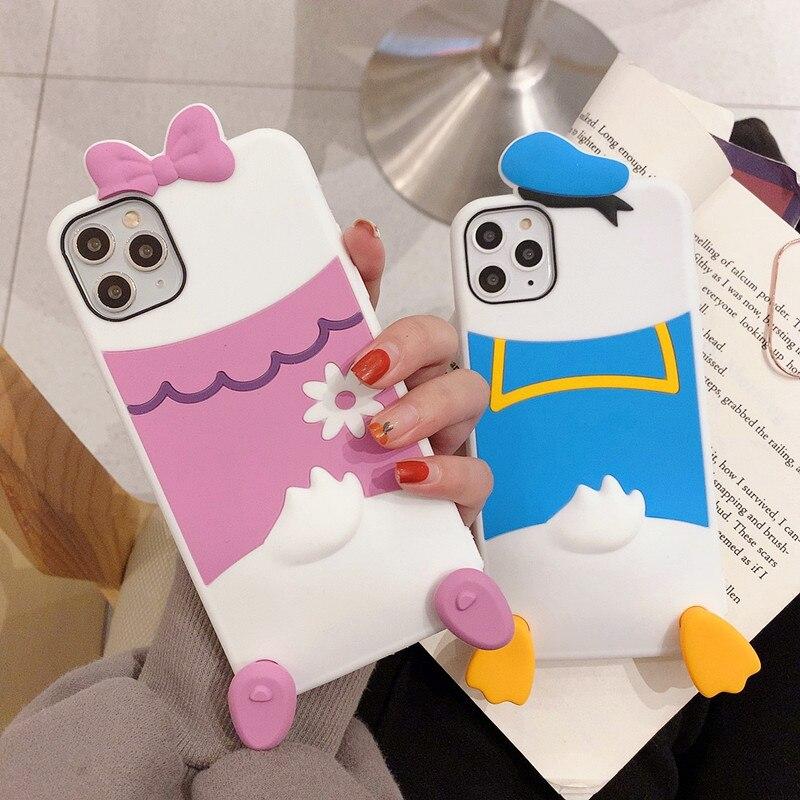 3D de dibujos animados Daisy Pato Donald funda para teléfono para iphone se 2020 11 pro max xr x xs cubierta suave de silicona para iphone 7plus 8 6 6s fundas