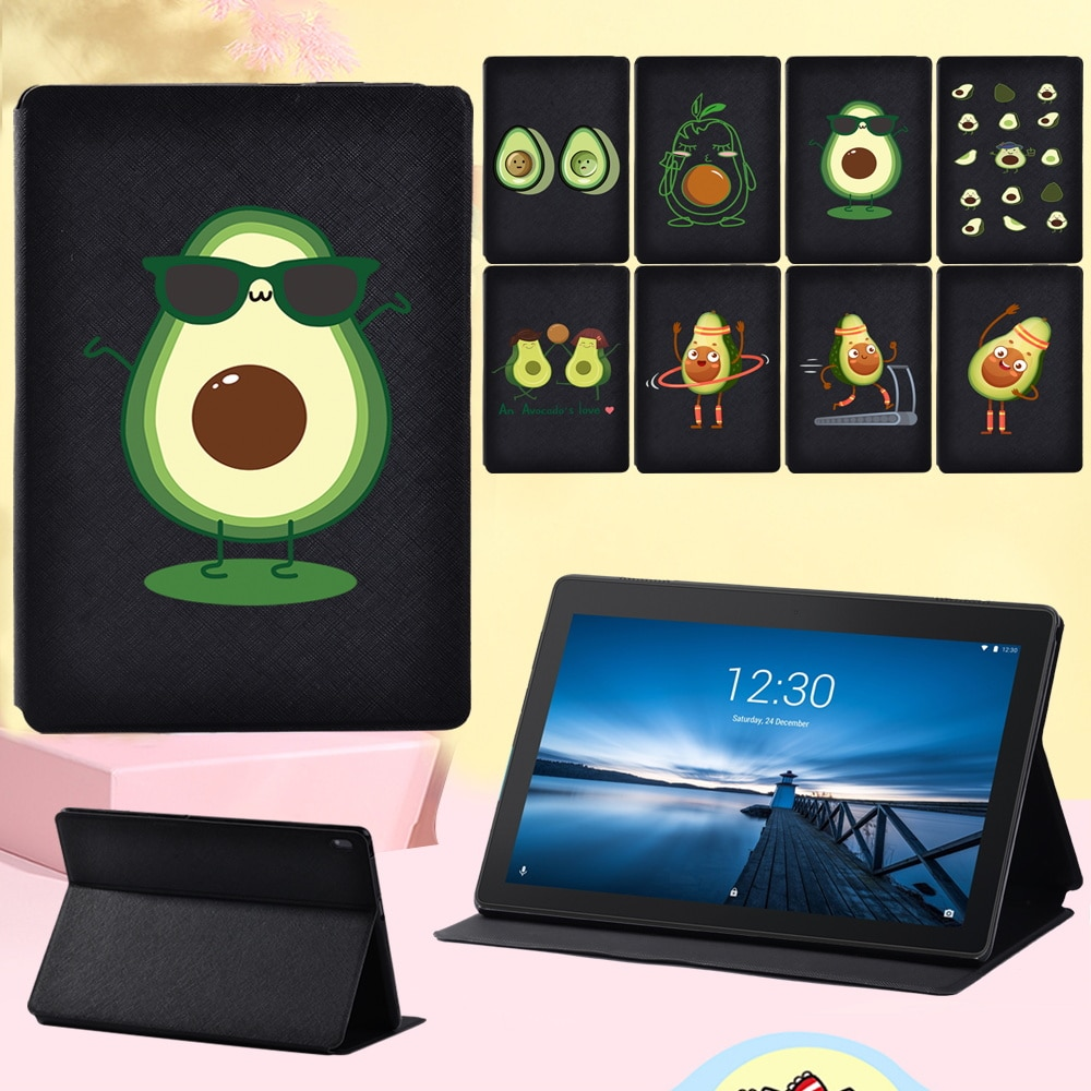 Anti-Dust Cover Case for Lenovo Tab M10 10.1 Inch/Lenovo Tab E10 10.1 Inch Cute Avocado PU Leather Stand Flip Tablet Cover Case