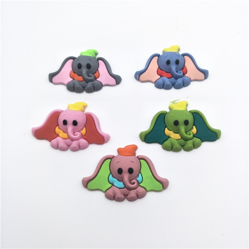 50PCS 3*2cm Soft plastic Lovely Elephant Flatback Cabochon Scrapbook DIY Decor Home Figurine Embellishments