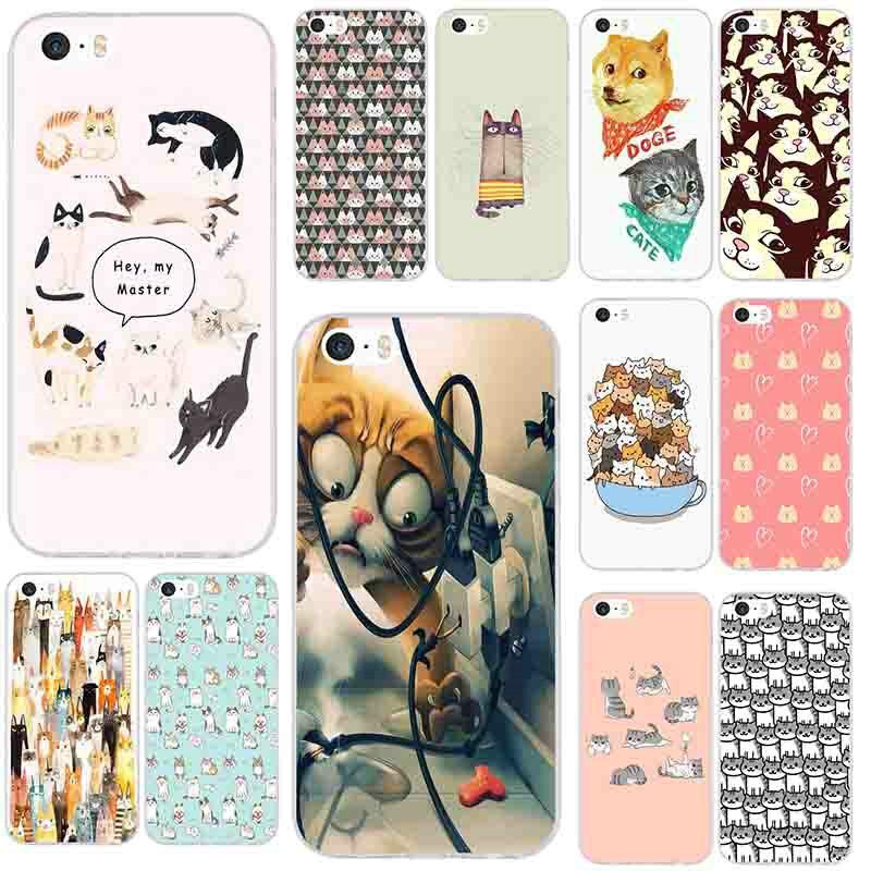 Funda con dibujos de gato Para iPhone, carcasa trasera de silicona TPU suave Para iPhone 4, 4S, 5, 5S, 6, 6S, 8, 7 Plus, X, XR, XS, Max