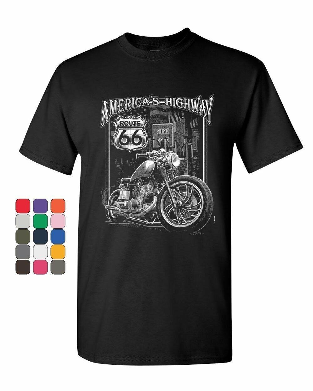 América Highway camiseta Ruta 66 MC motocicleta Chopper Bobber hombres camiseta