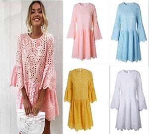 Summer Openwork Mini Dress Bohemian Women's Dresses 5 Colors Sexy Button Lace Round Neck 3/4 Sleeves Ruffled Dress Women
