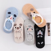 5 pairslot women socks candy color small animal cartoon pattern boat sock for summer breathable casual girls funny fashion