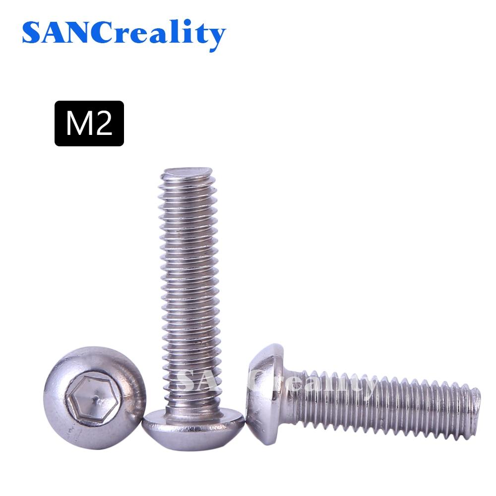 Винты M2 304 из нержавеющей стали с шестигранным отверстием, болты с круглой головкой/болты с грибовидной головкой