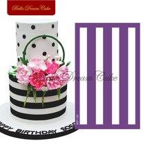 Rayas horizontales plantilla para tarta fondant molde para tortas de bodas tela malla plantillas para pastel borde molde torta decoración herramienta para hornear