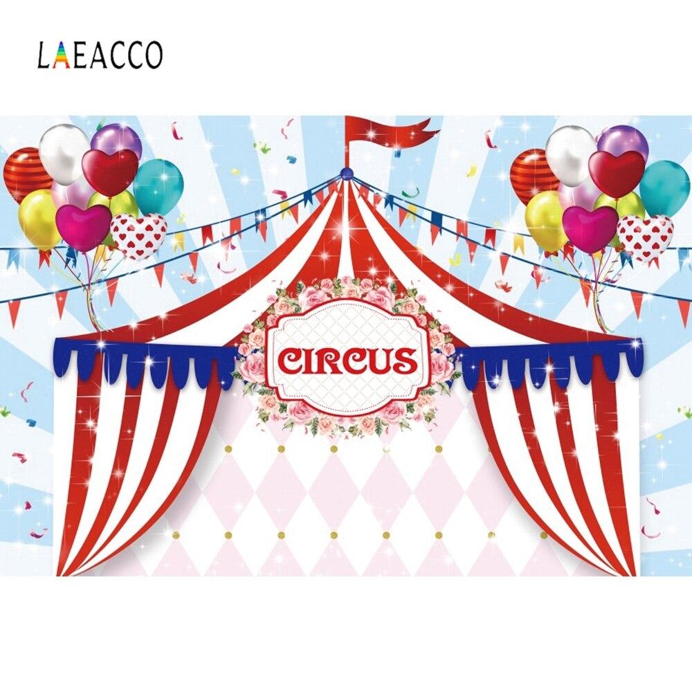 Laeacco circo tenda balões flâmula listra azul aniversário foto fundos personalizado fotográfico pano de fundo para estúdio foto