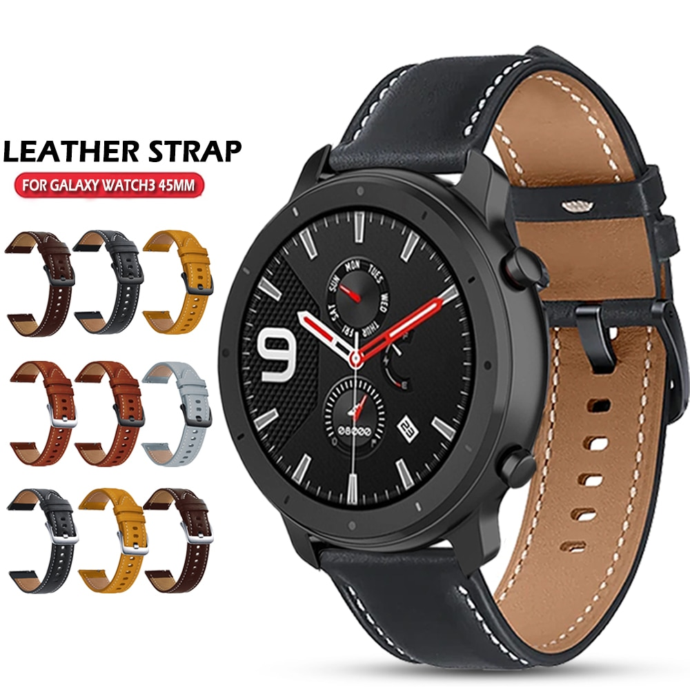 Leather Watchband Strap for Xiaomi Huami Amazfit GTR 47mm/gtr 2 2e/Stratos 3 2 2S Bracelet Band 22mm Sport Wristband Correa