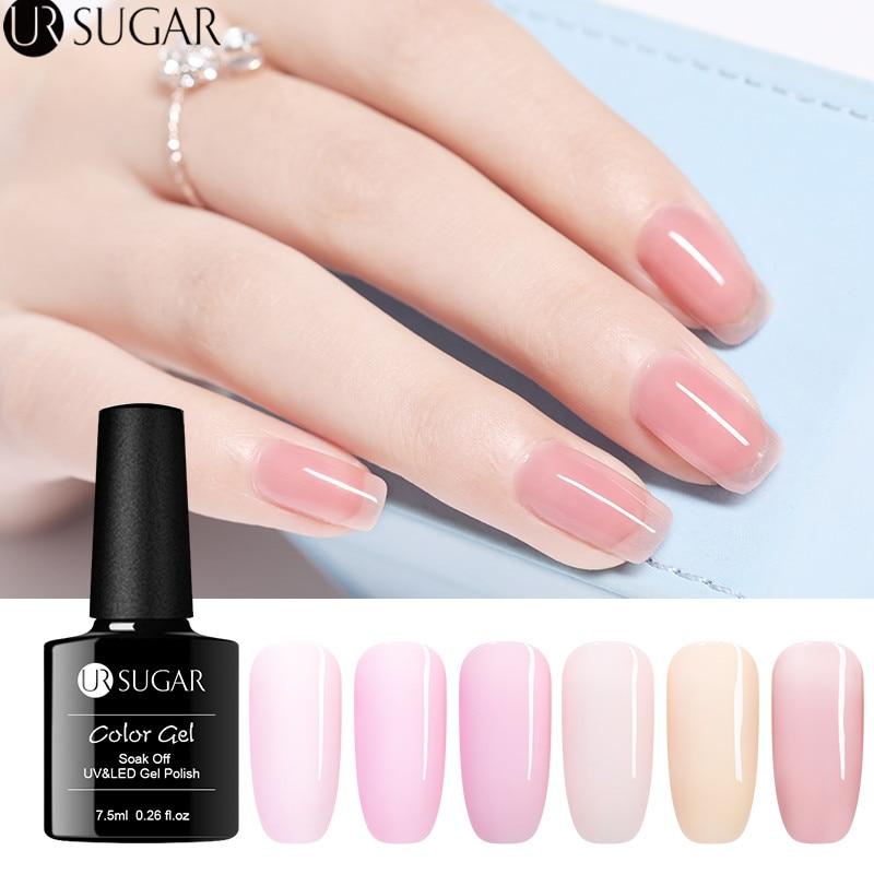 UR SUGAR 7.5ml Jelly Pink Gel Polish Semi-transparent Nude Gel Varnish Soak Off Nail Art UV LED Gel varnish Healthy Nails Color