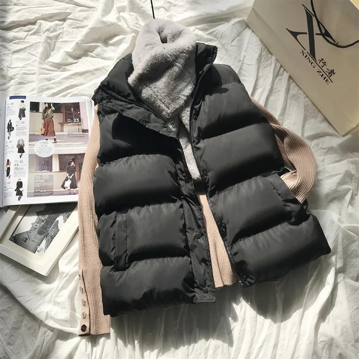 Women Winter Warm Cotton Padded Puffer Vests Sleeveless Parkas Jacket