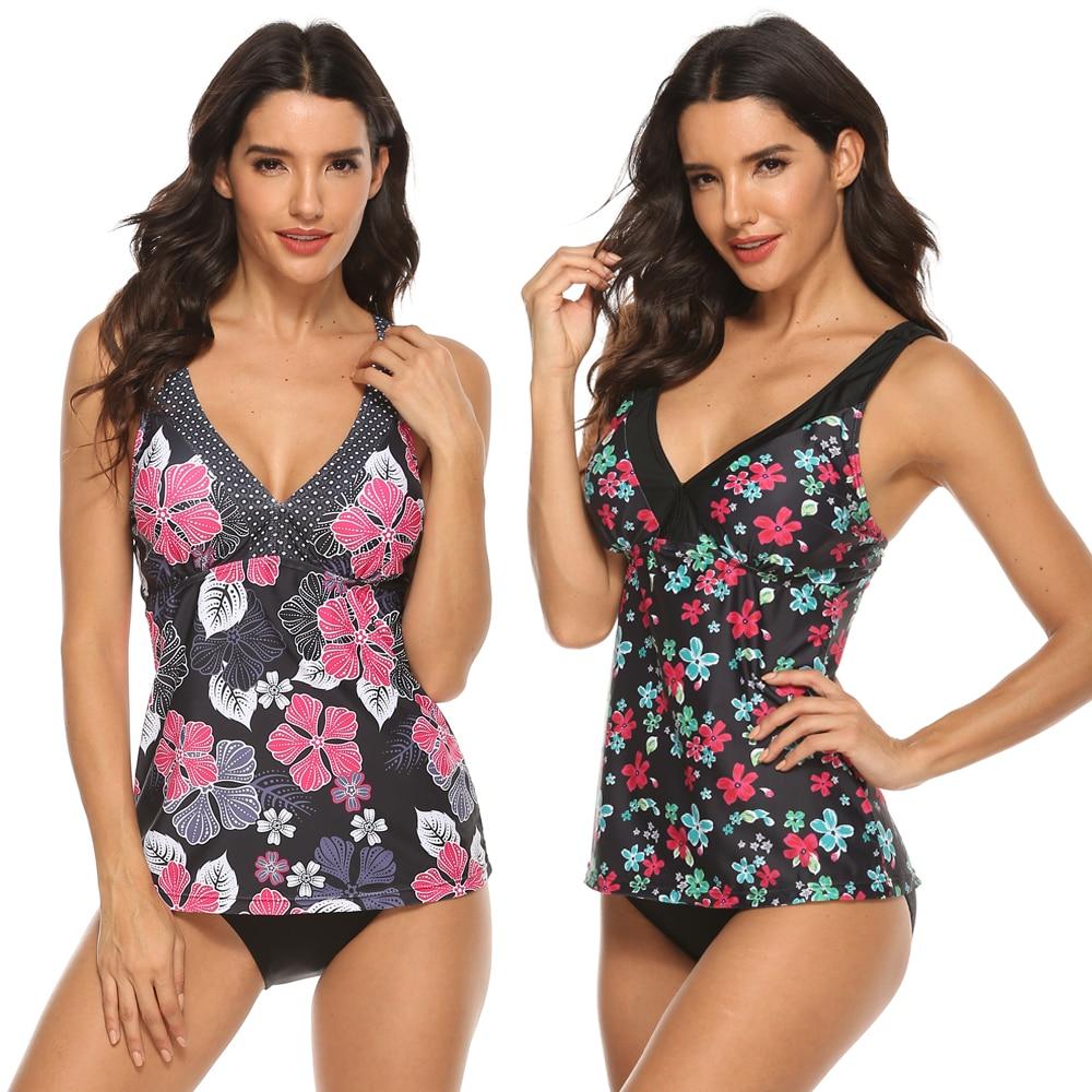 Bikini 2020 rétro imprimer 2 pièce Tankini grande taille maillot de bain jupe maillots de bain femmes grande taille maillot de bain Shorts Push Up Bikini 3XL
