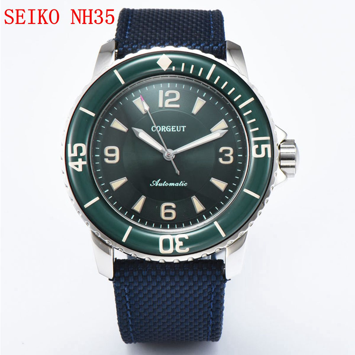 NH35 التلقائي ساعة رجالي 45 مللي متر الرياضة تصميم ساعة فاخرة ماركة Corgeut الميكانيكية مضيئة الذاتي الرياح خمر ساعة اليد الذكور
