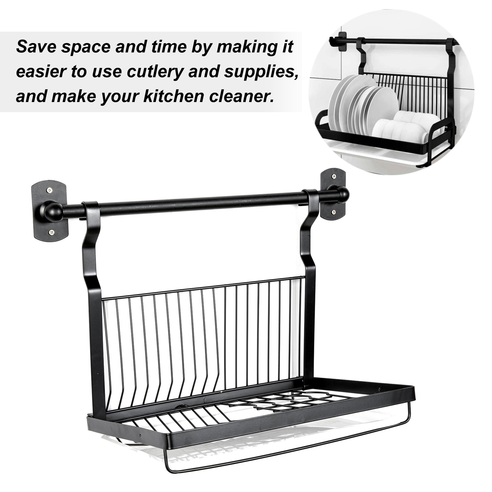 رف تجفيف الأطباق فوق الحوض ، منظم المطبخ ، خطاف ، مجفف أطباق من الفولاذ المقاوم للصدأ