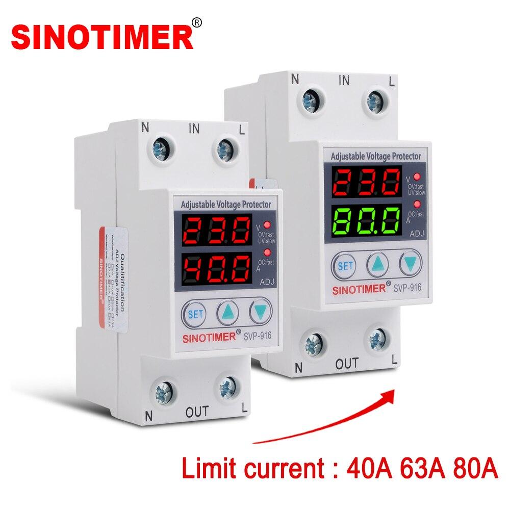 Corriente múltiple 40A 63A 80A 230V AC tensión regulable Protector Auto recuperar bajo voltaje límite relé de protección de corriente