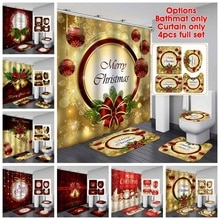 Merry Christmas Shower Curtain Santa Claus Bathroom Set Snowman Bell Pattern Bath Curtains Non Slip Toilet Cover Floor Mat Rug