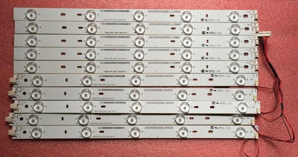 "8 piezas tira de LED para iluminación trasera 5 + 5 lámpara para Toshi ba 39 ""TV C390LD-DF61_5LED DF62 DF63 39L1350U 39L4300U 39L2300U AX952"