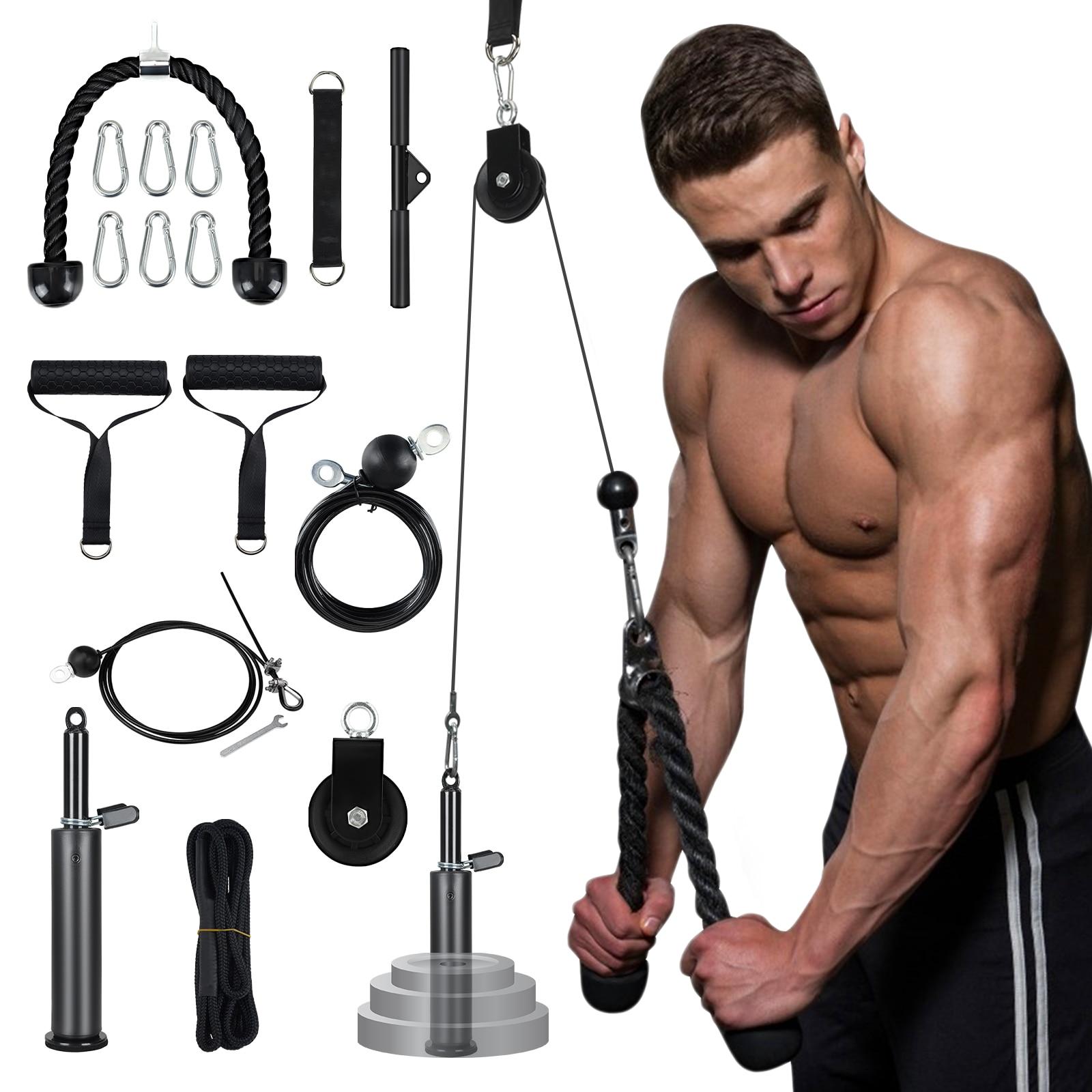 Sistema de Cabo Pino de Carga Quiet Fitness Polia Levantamento Tríceps Corda Máquina Workout Ajustável Comprimento Casa Gym Esporte