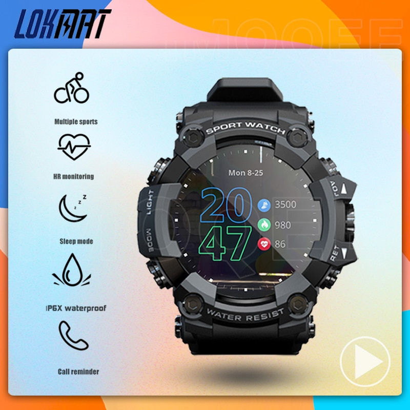LOKMAT ATTACK Full Touch Screen Fitness Tracker Smart Watch Men Heart Rate Monitor Blood Pressure Sm