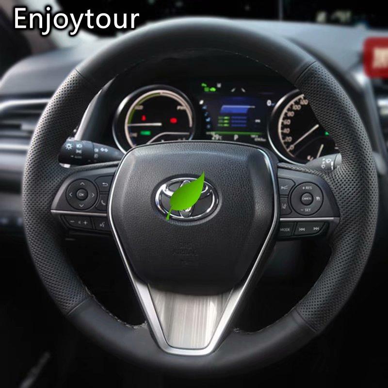 De cuero de coser a mano de protector para volante de coche 38cm para Toyota RAV4 AX50 Corolla G12 Axio Altis Camry Xv70 Avalon 2019 de 2020 a 2021