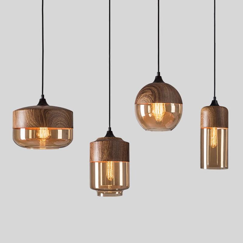 Lámpara colgante de cristal nórdico imitación grano de madera lámpara colgante Loft Bar restaurante cocina comedor isla accesorio de iluminación