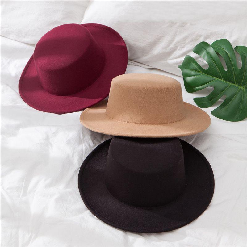 2021Solid Color Imitation Woolen Hat Women Felt Fedoras Jazz Cap Female Girls Simple Wide Brim Flat