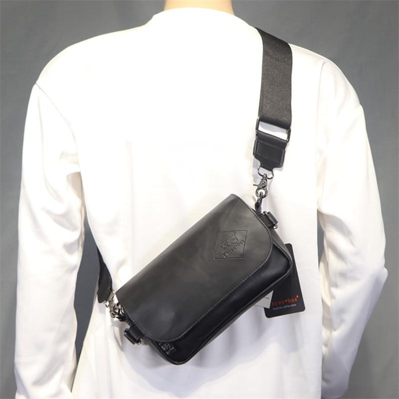 العلامة التجارية الجديدة مصمم الكورية نمط الرجال حقيبة ساع حقيبة كروسبودي عادية جلدية صغيرة سوداء الكتف حقيبة رافعة الهاتف اليومي