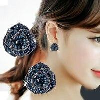 elegant rose flower earrings wedding jewelry accessories girl gift fashion blue crystal zircon stud earrings for women
