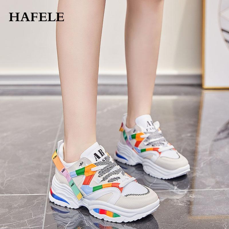 2019 New Fashion Platform Sneakers  Women White Shoes Ulzzang Chunky Sneakers Sports Shoes Thick Bottom Women Walking Shoes